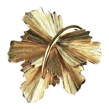 Napier Pleated Ruffled Leaf Vintage Brooch