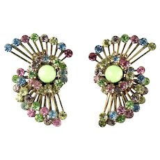 Vintage Large Pinwheel Pastel Rhinestone Cabochon Earrings