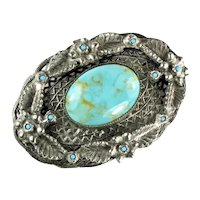 Silvertone Imitation Faux Turquoise Large Oval Cabochon Vintage Brooch