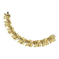 Trifari Leaf Leaves Motif Goldtone Vintage Bracelet
