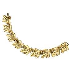 Trifari Leaf Leaves Motif Goldtone Vintage Bracelet