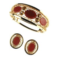 Vintage Cinnamon Oval Cabochon Rhinestone Filigree Side Hinged Cuff Bracelet and Earrings