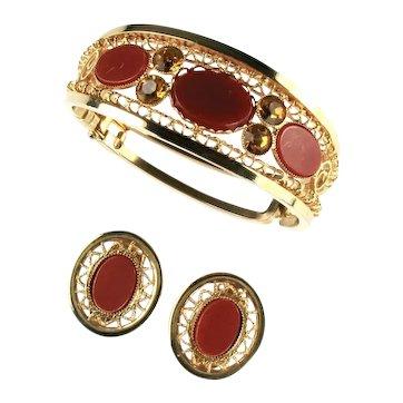 Vintage Cinnamon Oval Cabochon Rhinestone Filigree Side Hinged Cuff Bracelet and Earrings