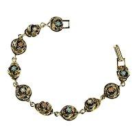 Goldette Shades of Turquoise Pearl Coral Flower Motif Bracelet