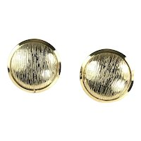 Vintage Round Textured Button Earrings by Alice