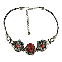 Selro Red Noh Mask Devil Butterfly Vintage Necklace