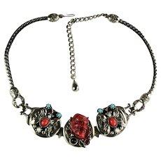 Selro Red Noh Mask Devil Butterfly Vintage Necklace