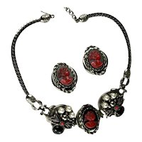 Selro Black Red Plastic Lady Cameo Necklace and Earrings Vintage Set