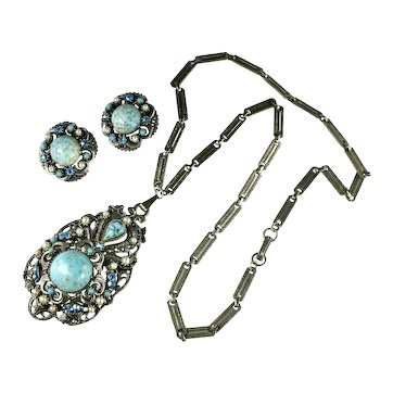 Florenza Turquoise Colored Glass Cabochon Necklace and Earrings Vintage Set