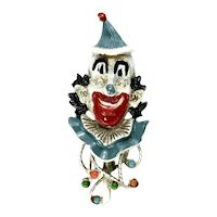 Florenza Circus Clown Colorful Enameled Vintage Brooch
