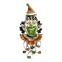 Florenza Vintage Circus Clown Enameled Brooch