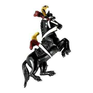Florenza Black Enamel Circus Pony Horse Vintage Brooch