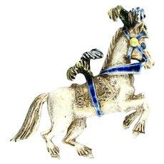 Florenza White Enamel Circus Pony Horse Vintage Brooch