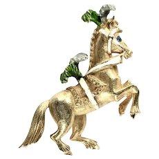 Florenza Goldtone Circus Pony Horse Vintage Brooch