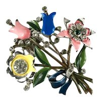 Trifari Vintage Yellow Pin Blue Green Enameled 1940 Flower Bouquet Pin Clip