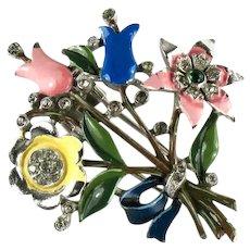 Trifari Vintage Yellow Pin Blue Green Enameled 1940 Flower Bouquet Pin Clip