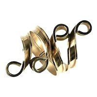 Huge Vintage Goldtone Ribbon Swirls Bartek Bracelet