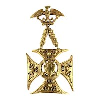 Florenza Vintage Goldtone Maltese Cross Eagle Crown Shield Brooch