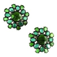 Two Shades of Green Cabochon Earrings