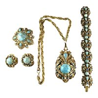 Florenza Shades of Turquoise and Pearl Vintage Necklace Bracelet Brooch Earrings Parure
