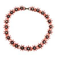 Orange Black Flowers Vintage Necklace