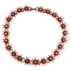 Orange Black Flowers Vintage Necklace