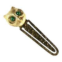 Florenza Green Eyed Owl Goldtone Metal Bookmark
