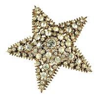 Vintage Crystal Rhinestone Starfish Brooch
