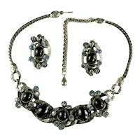 Selro Vintage Black Cabochon Blue Rhinestone Snake Textured Necklace and Earrings Set