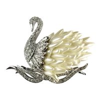 Nolan Miller Pave Crystal Rhinestone Pearlesque Feathers Swan Brooch