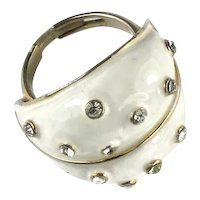 Les Bernard Vintage White Enamel Crystal Rhinestone Ring