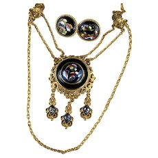 Florenza Blue Enameled Pendant Chains Necklace and Earrings Set