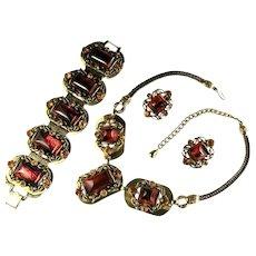 Selro Vintage Rootbeer Cabochon Rhinestone Necklace Bracelet Earrings Set