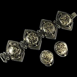 Selro Vintage Black Goldtone Confetti Cabochon Huge Bracelet Earrings Set