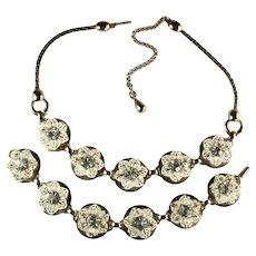 Selro Vintage White Enamel Crystal Flower Necklace Bracelet Set