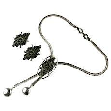 Selini Vintage Green Carved Motif Bolo Slide Necklace Earrings Set by Selro