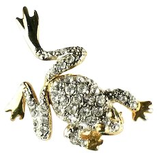 Vintage Pave Rhinestone Articulated Frog Pin