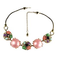 Selro Pink Cabochon Rhinestone Flowers Vintage Necklace