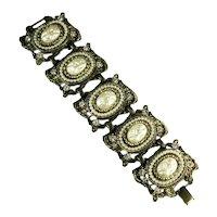 Mobe Oval and Round Imitation Pearl and Rhinestone Huge Vintage Bracelet