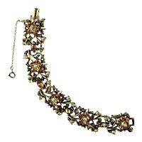 Coro Shades of Topaz Vintage Flower and Leaf Vintage Bracelet