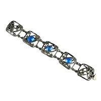 Vintage Blue Oval Glass Stones Flower Motif Openwork Bracelet