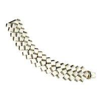 Modernist Vintage White Plastic Geometric Elements Goldtone Bracelet