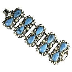 Vintage Marbled Light Blue Teardrop Cabochon Imitation Pearl Blue Rhinestone Large Bracelet