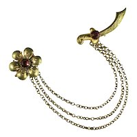 Vintage Red and Goldtone Flower Sword Chain Chatelaine Brooch