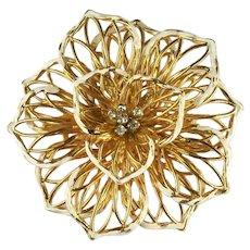 Vintage Goldtone Open Wirework White Enameled Flower Brooch
