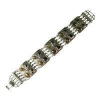 Vintage Eloxal Aluminum Art Glass Cabochon Bracelet