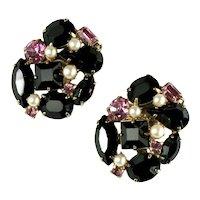 Black and Pink Rhinestone Imitation Pearl Vintage Earrings