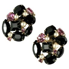 Black and Pink Rhinestone Imitation Pearl Vintage Earrings