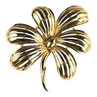 Trifari Vintage Goldtone Flower Brooch