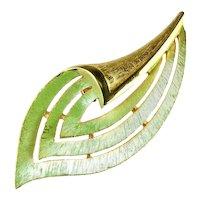 JJ Vintage Goldtone Pale Green Enameled Flowing Leaf Brooch